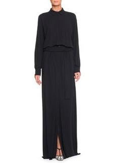 Belted High-Slit Long Shirtdress, Dark Navy   Belted High-Slit Long Shirtdress, Dark Navy