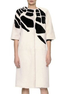 Bottega Veneta 3/4-Sleeve Jewel-Neck Croc-Intarsia Shearling Coat
