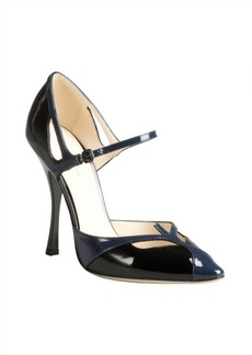 Bottega Veneta black and blue colorblock patent ankle strap pumps