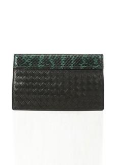 Bottega Veneta black and green python trimmed intrecciato leather clutch
