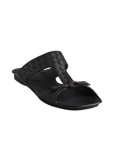 Bottega Veneta black intrecciato leather flat sandals