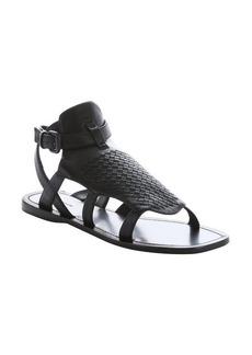 Bottega Veneta black intrecciato leather gladiator sandals