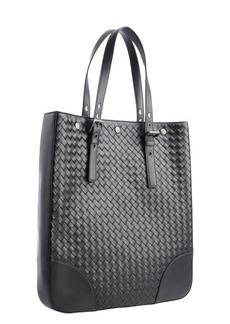 Bottega Veneta black intrecciato leather large tote bag