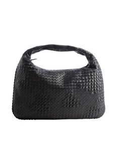 Bottega Veneta black intrecciato leather top handle bag
