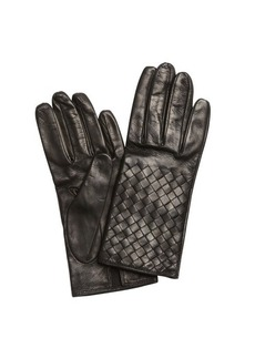 Bottega Veneta black intrecciato nappa leather gloves