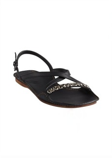 Bottega Veneta black leather butterfly chain detail sandals