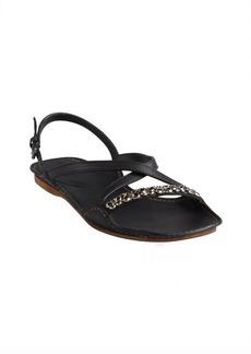 Bottega Veneta black leather butterfly chain detail sandals