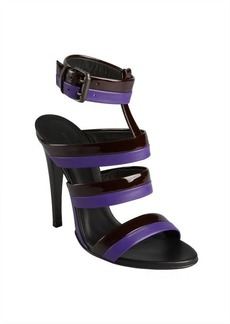 Bottega Veneta black patent and purple leather stripe buckle sandals
