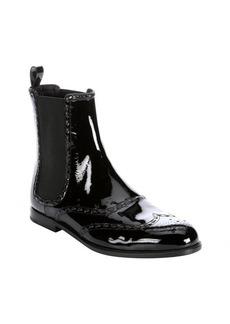 Bottega Veneta black patent leather wingtip chelsea boots