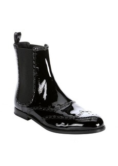 Bottega Veneta black patent leather wingtip chelsea boots