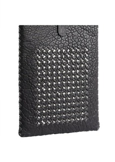 Bottega Veneta black pebbled leather and intrecciato acrylic ipad case