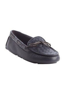 Bottega Veneta blue intrecciato leather boatstitched loafers