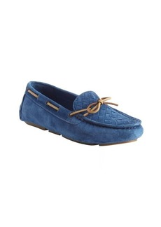 Bottega Veneta blue intrecciato suede boatstitched loafers