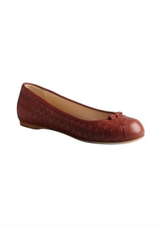 Bottega Veneta brick red intrecciato leather bow detail flats