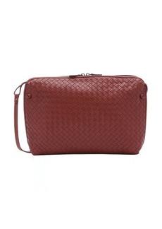 Bottega Veneta brick red intrecciato leather zip crossbody bag