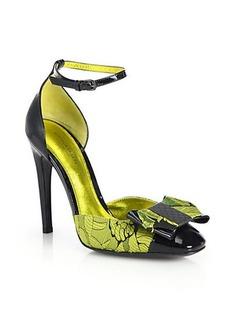 Bottega Veneta Brocade Ankle-Strap Pumps