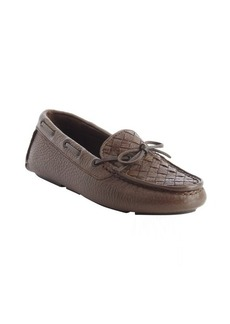 Bottega Veneta brown intrecciato leather boatstitched loafers