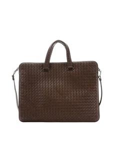 Bottega Veneta brown intrecciato leather convertible briefcase