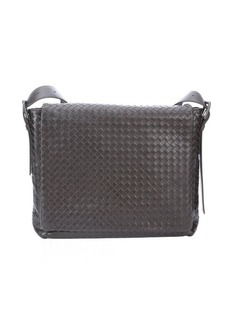 Bottega Veneta brown intrecciato leather messenger bag