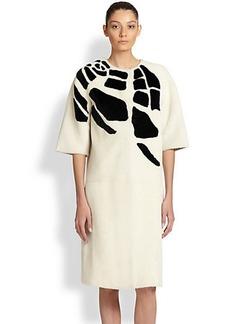 Bottega Veneta Croc-Intarsia Shearling Coat