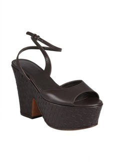 Bottega Veneta dark brown intrecciato leather curved plateform sandals