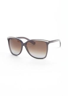 Bottega Veneta dark grey acrylic rectangle sunglasses