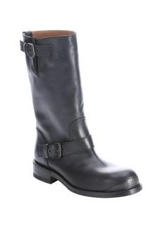 Bottega Veneta dark prusse leather double buckle moto boots