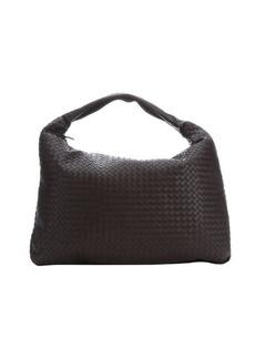 Bottega Veneta ebano dark brown intrecciato leather 'Maxi Veneta' shoulder hobo