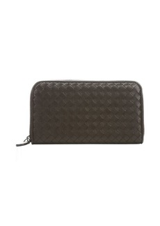 Bottega Veneta ebony intrecciato leather zip around continental wallet