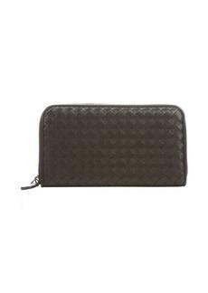 Bottega Veneta ebony intrecciato leather zip around continental wallet