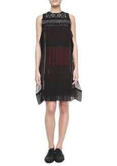 Bottega Veneta Embroidered Fringe Dress, Black/Multi