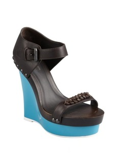 Bottega Veneta espresso leather and rubber platform wedge sandals