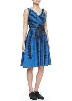 Bottega Veneta Faux-Wrap Dress with Lace Trim, Blue