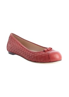 Bottega Veneta fraise intrecciato leather bow detail flats