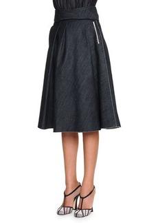 Bottega Veneta Full A-Line Denim Skirt, Dark Navy