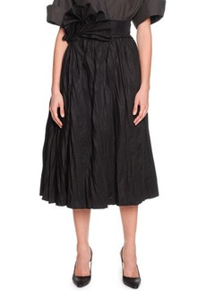 Bottega Veneta Full A-Line Skirt with Fanned Belt