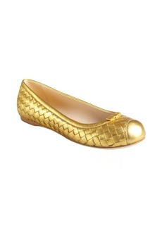 Bottega Veneta gold intrecciato leather bow detail flats