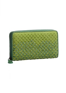 Bottega Veneta green intrecciato ripped fabric and leather zip continental wallet