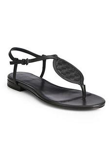 Bottega Veneta Intrecciato Leather Thong Sandals