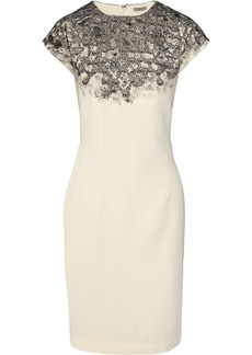 Bottega Veneta Lace-appliquéd and printed stretch-crepe dress
