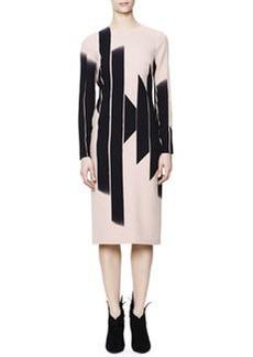 Bottega Veneta Long-Sleeve Vertical Block Lines-Print Dress