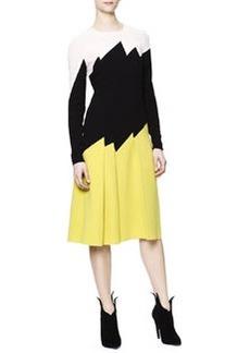 Bottega Veneta Long-Sleeve Zigzag Colorblock Dress