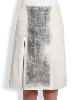 Bottega Veneta Metallic-Printed Leather Skirt