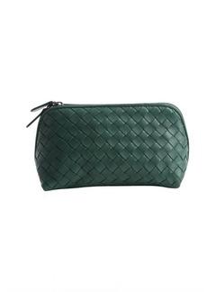 Bottega Veneta mint green intrecciato leather small cosmetics case