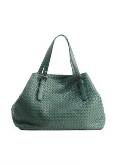 Bottega Veneta mint leather intrecciato top handle tote bag