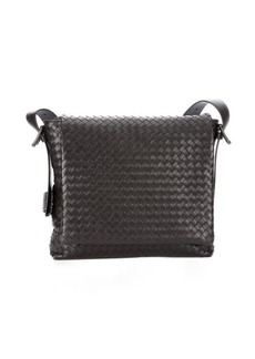 Bottega Veneta moro intrecciato leather messenger bag