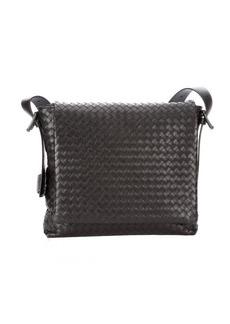 Bottega Veneta moro intrecciato leather messenger bag