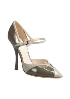 Bottega Veneta moss and light grey colorblock patent ankle strap pumps