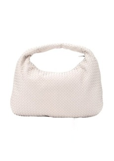 Bottega Veneta mystic white intrecciato leather large shoulder bag