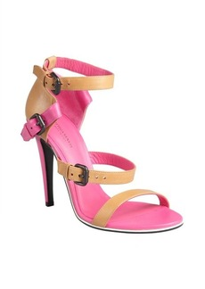 Bottega Veneta nude and shock leather double buckle sandals
